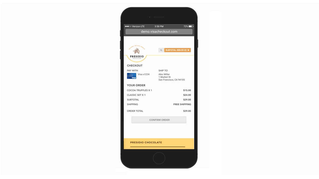 visa checkout shopping with a swipe on mobile phone
