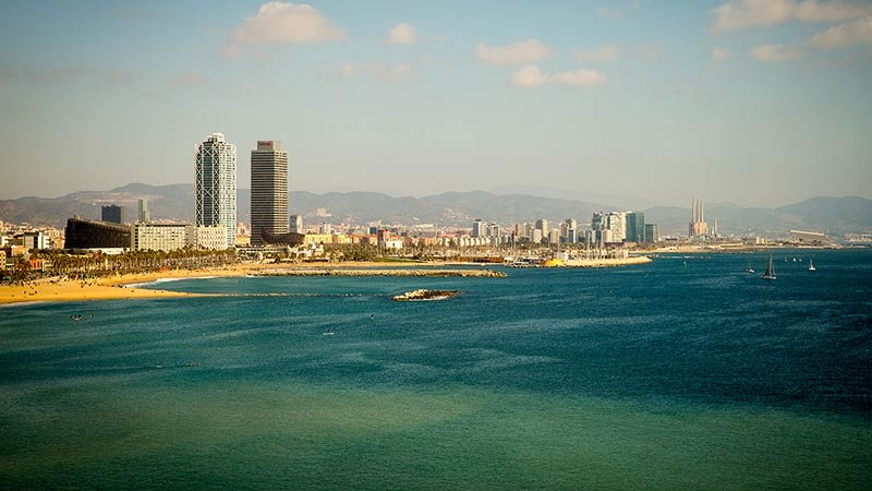 Beaches and skyline of Barcelona, Spain.
